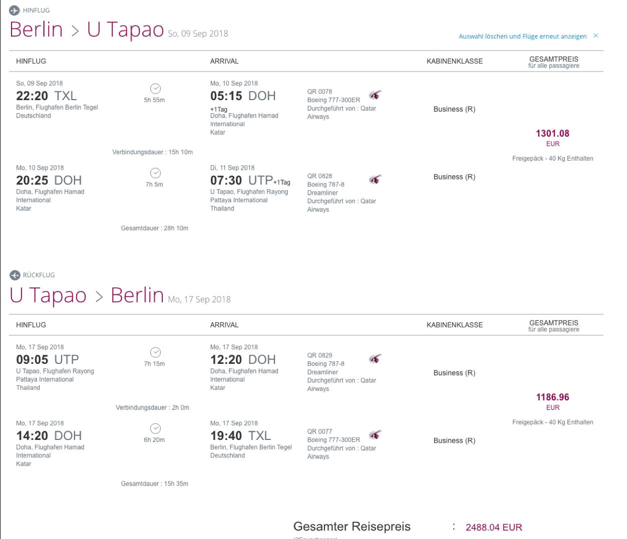 Ab Deutschland günstig Business Class nach Thailand fliegen