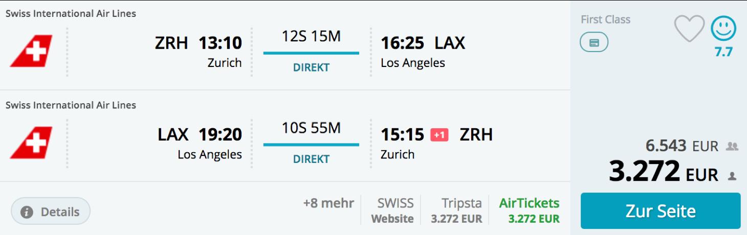 Günstige First Class Flüge nach Nordamerika