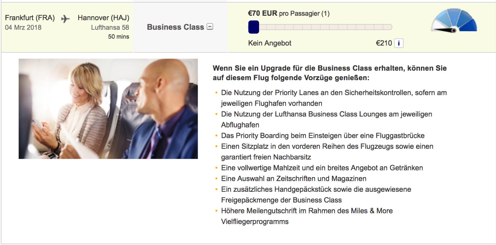 Lufthansa Business Class Upgrades werden teurer