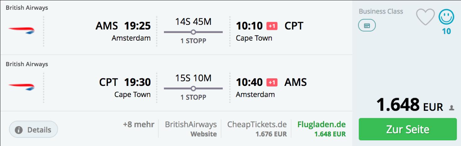 Günstige Business Class Flüge nach Kapstadt