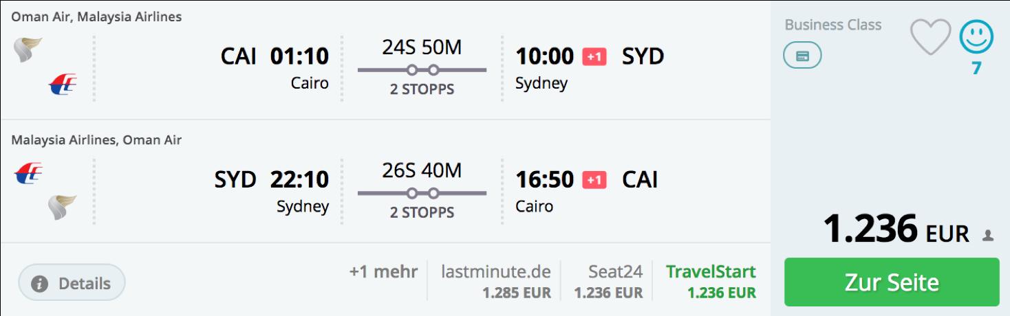 Sehr günstig Business Class nach Sydney fliegen