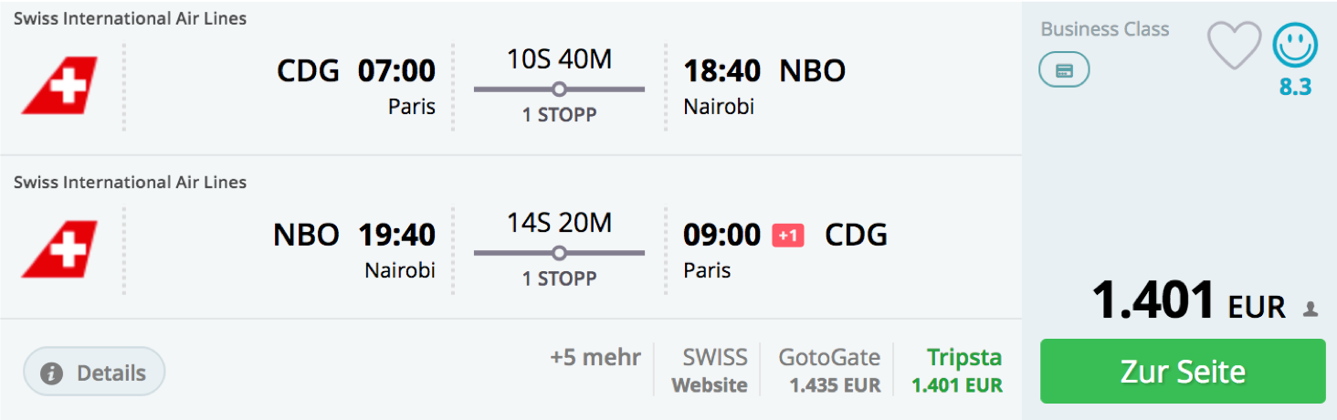 SWISS business Class Angebote ab Paris