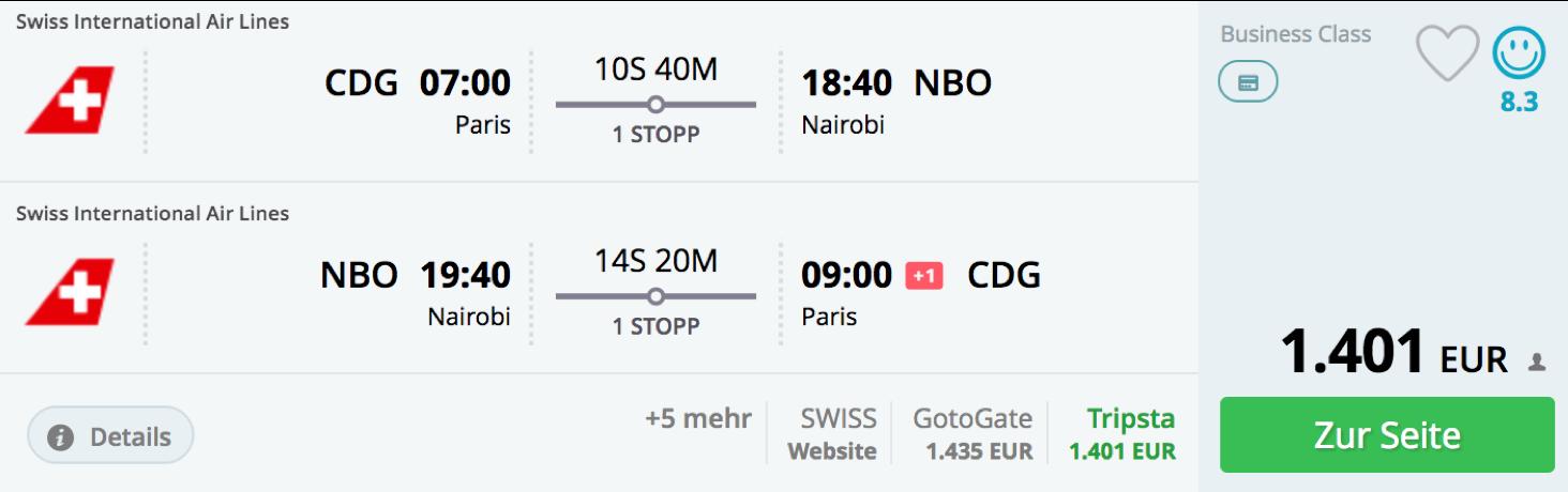 SWISS business Class Angebote ab Paris