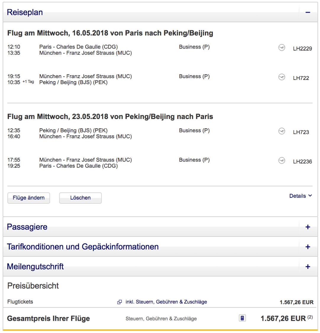 Günstige Lufthansa Business Class Flüge nach Peking