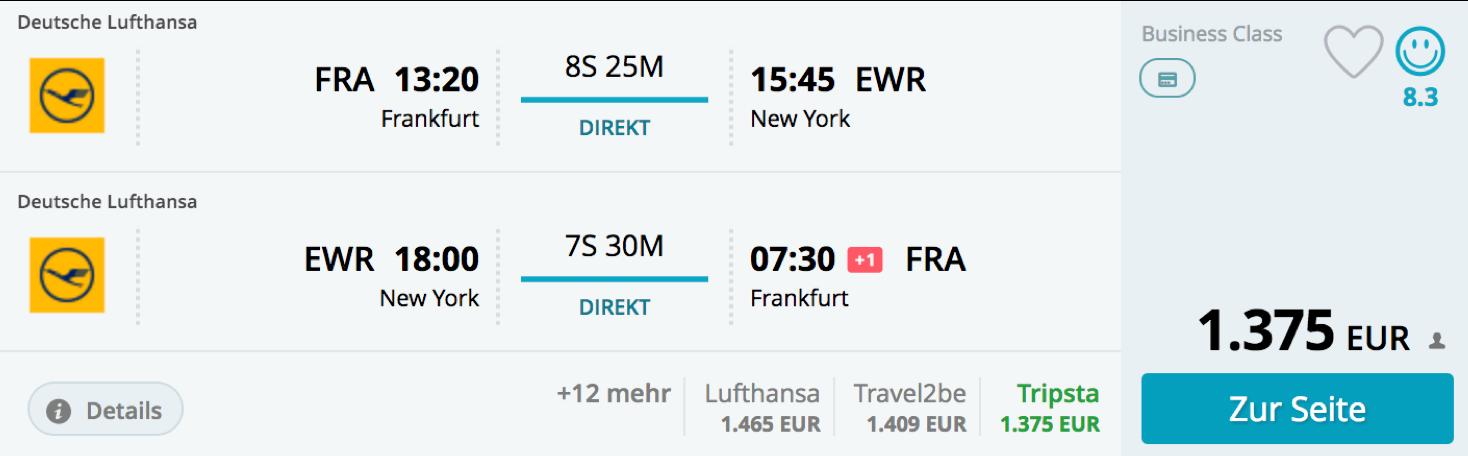 Günstige Lufthansa Business Class Direktflüge nach New York