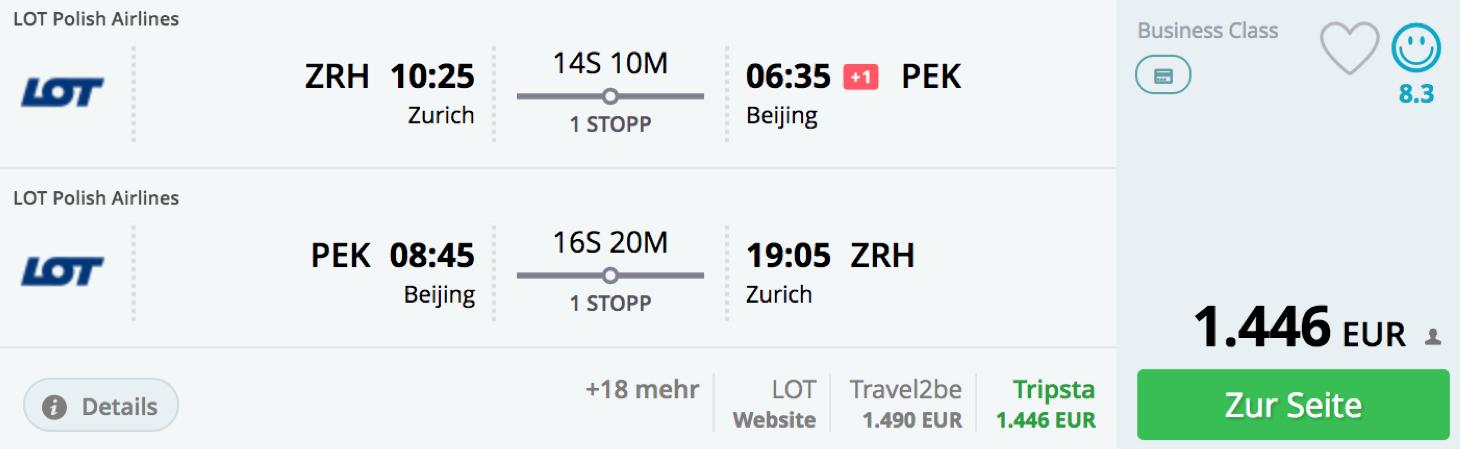 Günstige Business Class Flüge ab der Schweiz nach Peking