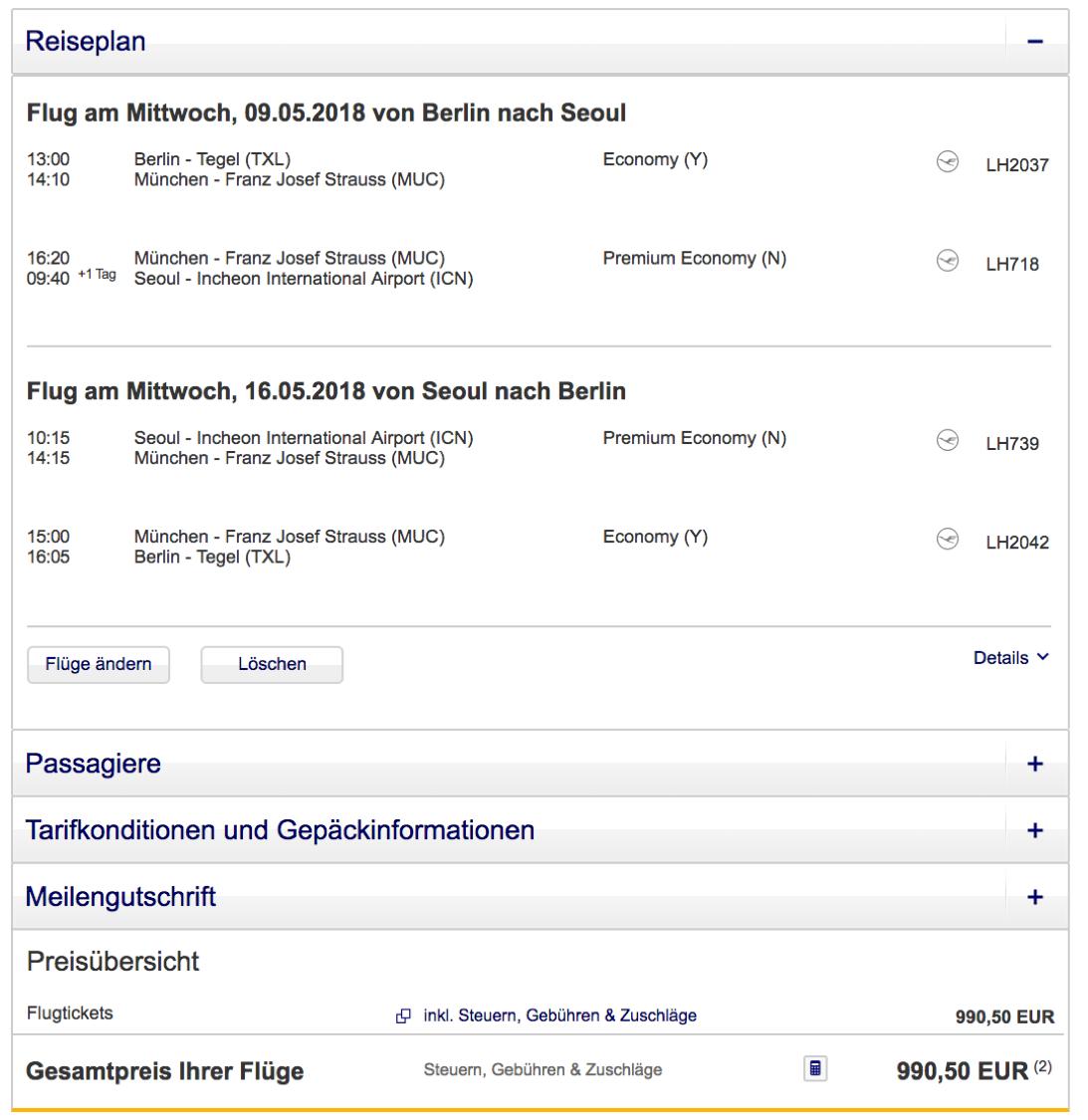 Lufthansa Premium Economy Class Angebote nach asien