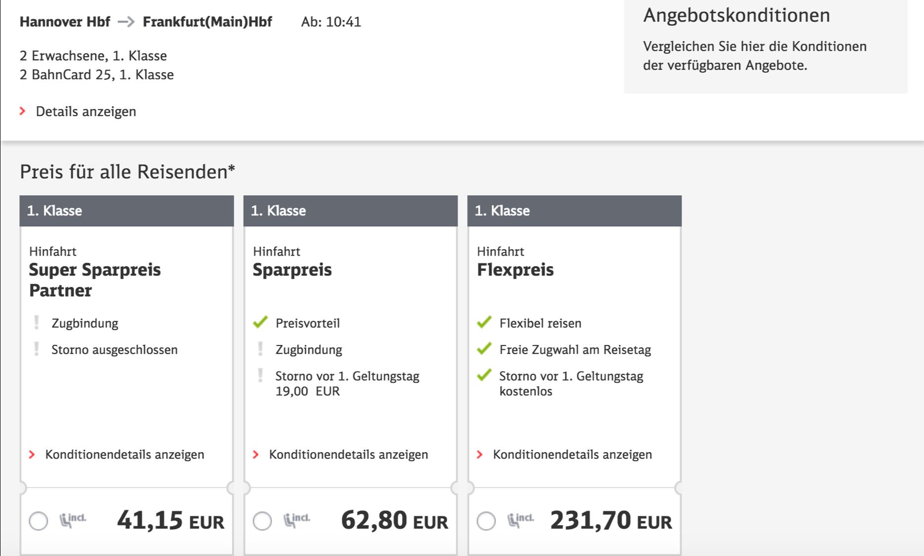 Günstige Deutsche Bahn 1. Klasse Fahrten