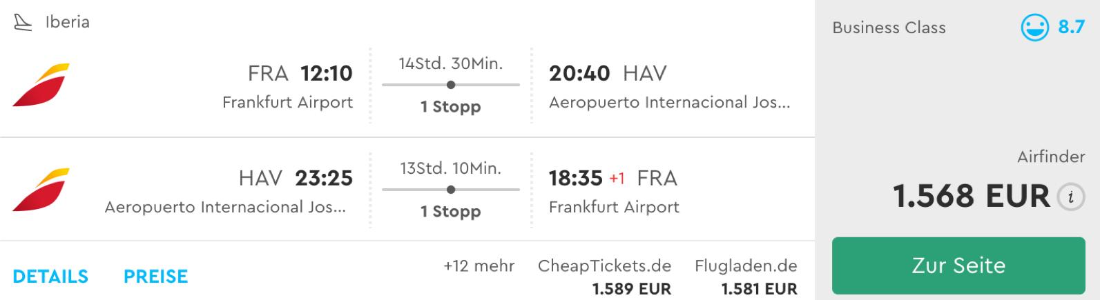 Günstige Iberia Business Class Flüge nach Kuba