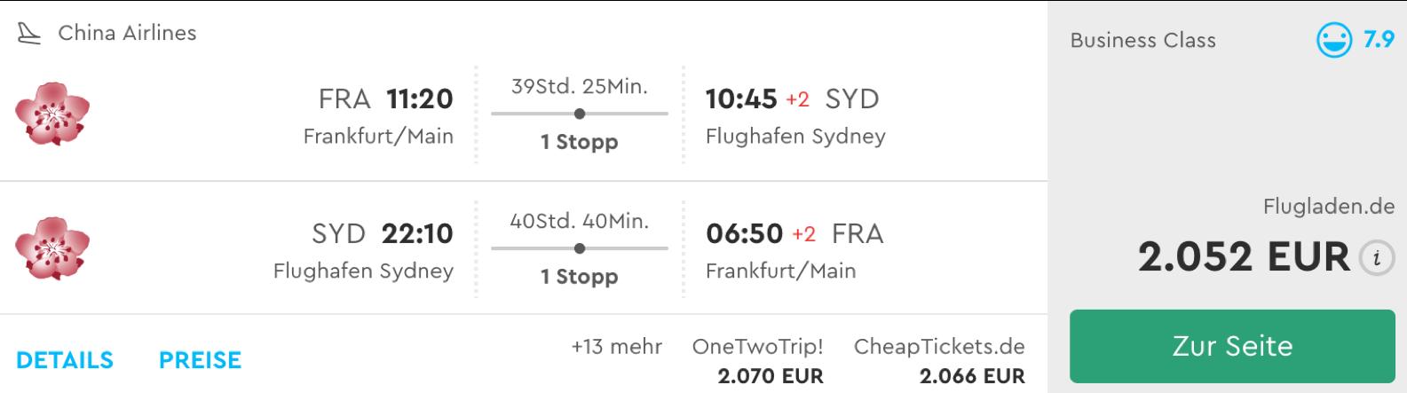 Günstige business Class Flüge nach Sydney