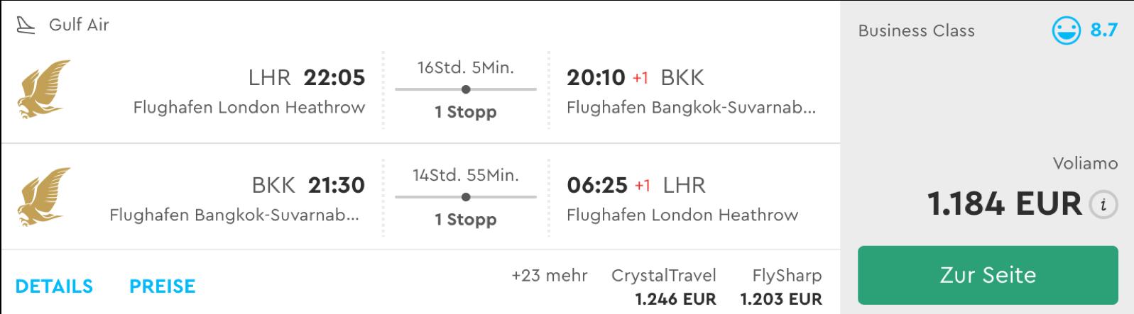 Günstige Business Class Flüge nach Bangkok