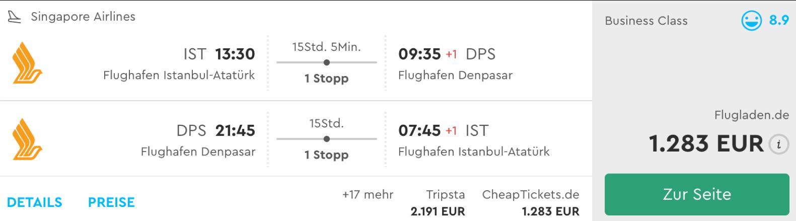 Singapore airlines Business class nach Bali fliegen