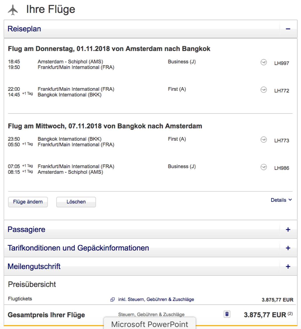 Günstig Lufthansa First class nach Bangkok fliegen