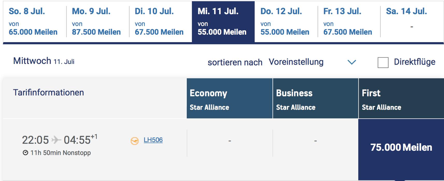 Lufthansa First Class Prämienflug