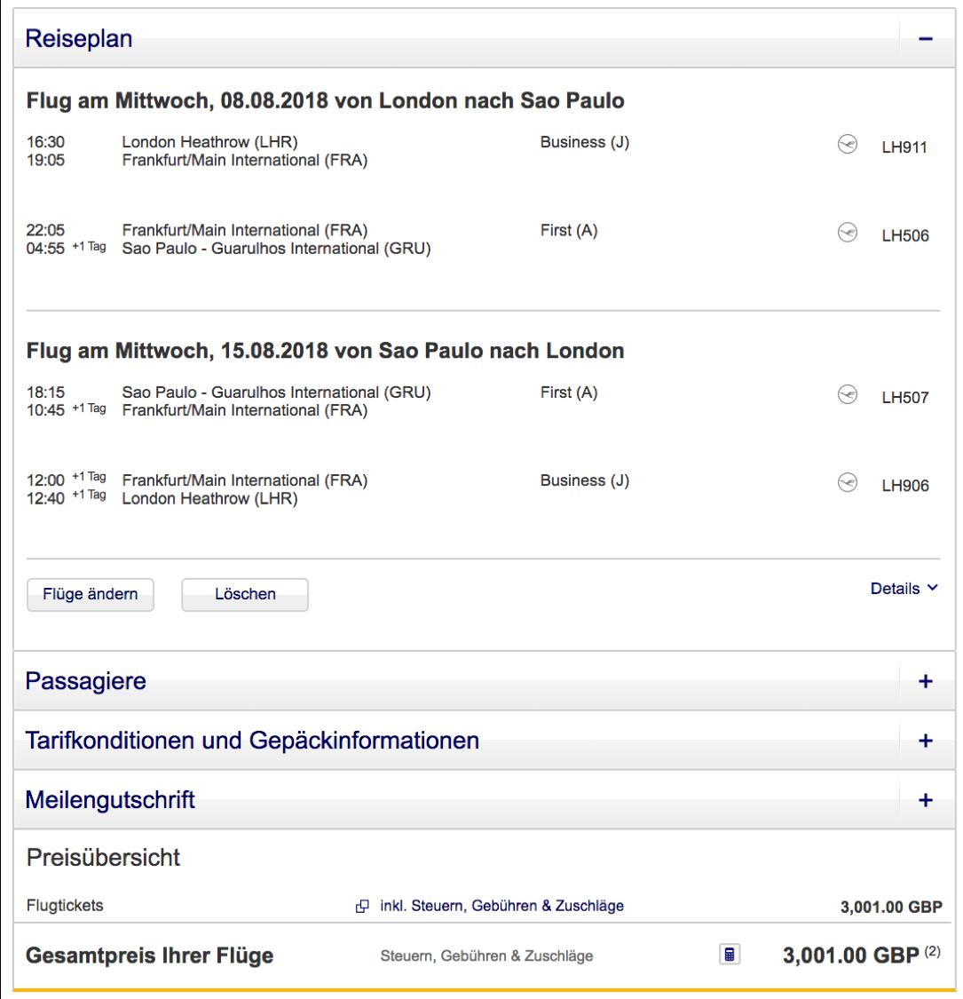 Günstige Lufthansa First Class Flüge nach Sao Paulo