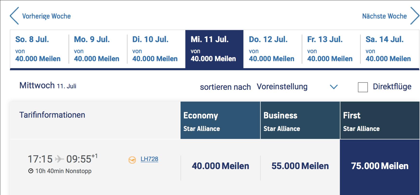 Lufthansa First Class Prämienflüge