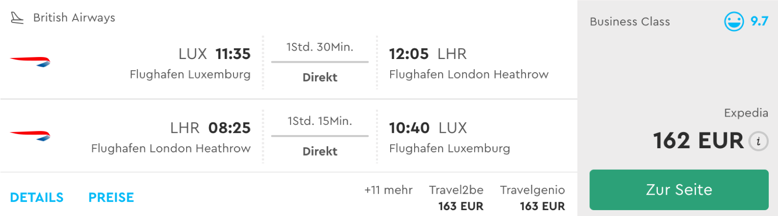 British Airways Tier Points Run in Europa