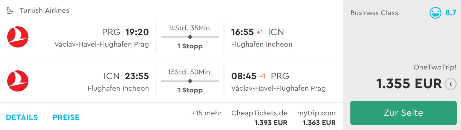 Günstige Business Class Flüge nach Seoul