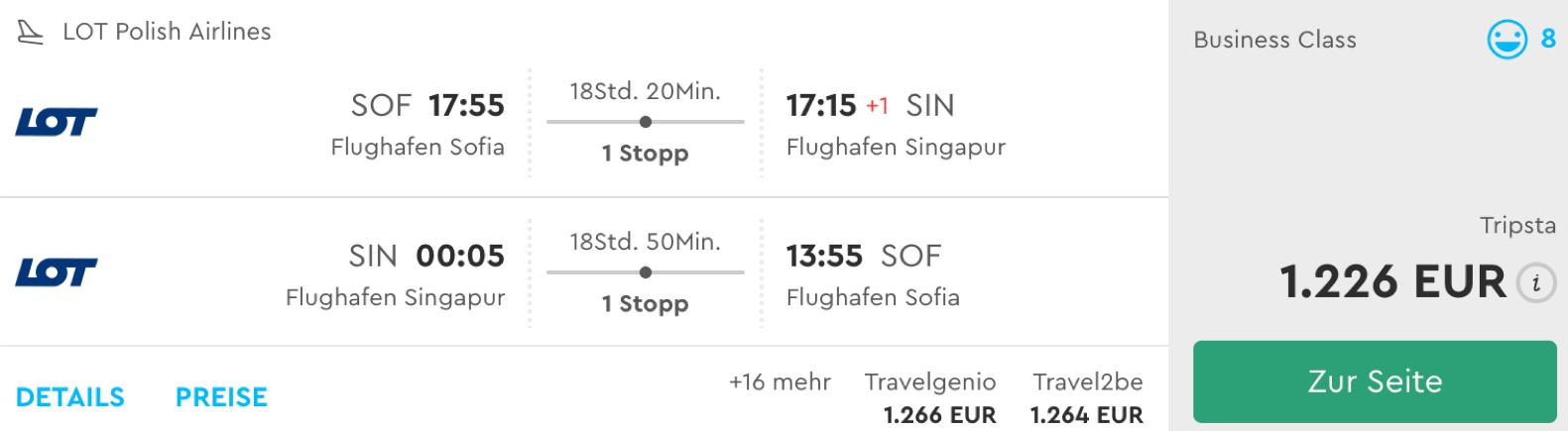 Günstig Business Class nach Singapur fliegen
