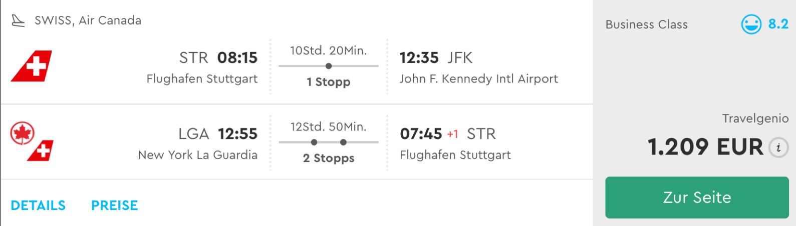 Günstige Business Class FLüge nach New York