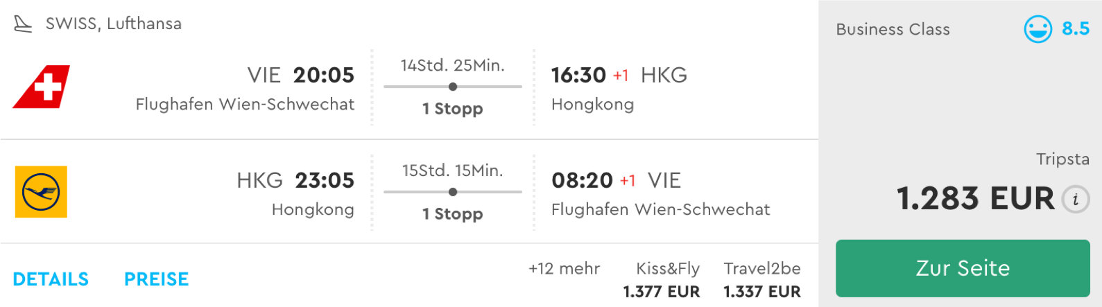 Günstige Business Class Deals nach Hongkong
