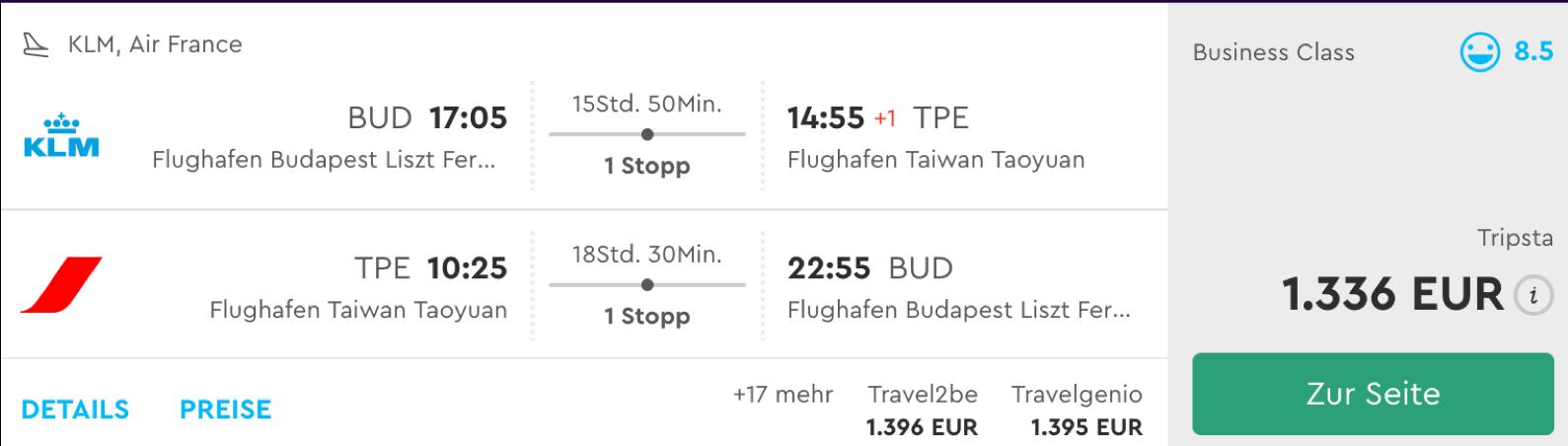 Günstige Business Class Flüge nach Taipeh