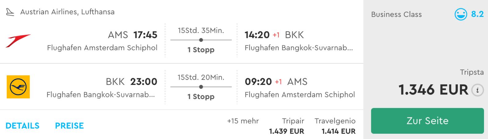 Günstige Lufthansa business Class Flüge nach Bangkok