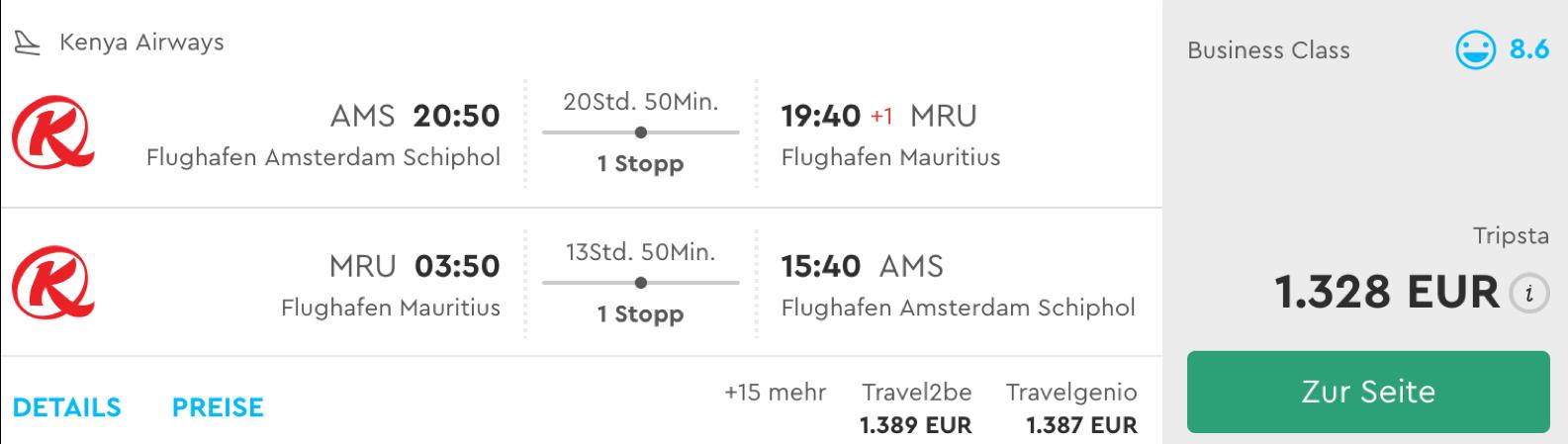 Günstige Business Class Flüge nach Mauritius