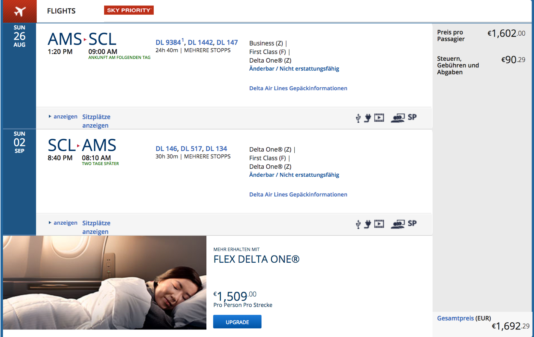 Delta Business Class nach Chile fliegen