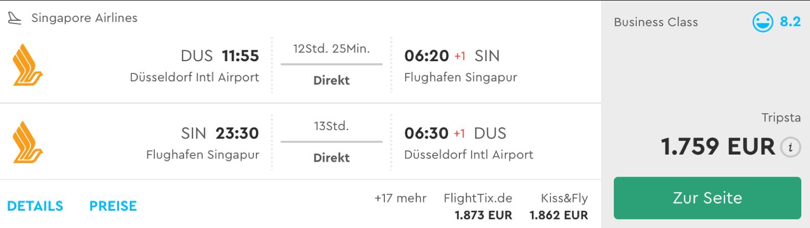Günstige singapore Airlines Direktflüge nach Singapur