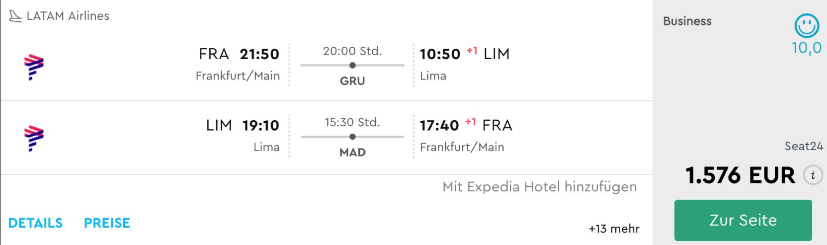 LATAM Business Class Angebote nach Südamerika