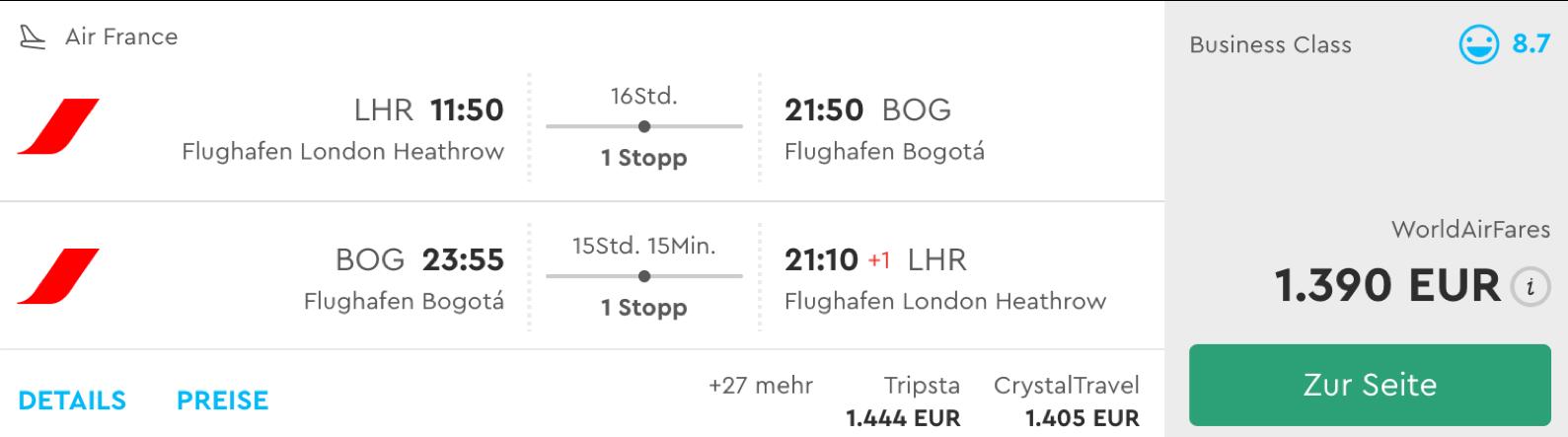Günstige Business Class Flüge nach Kolumbien