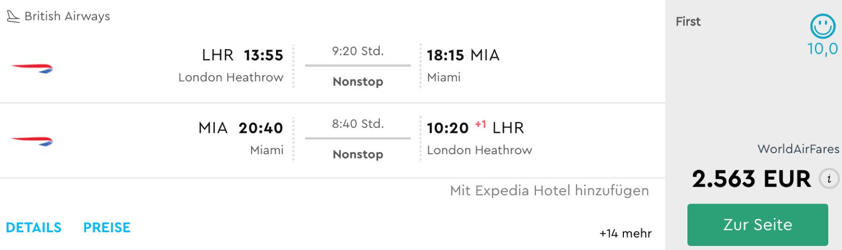 Günstig British Airways First Class nach Miami fliegen