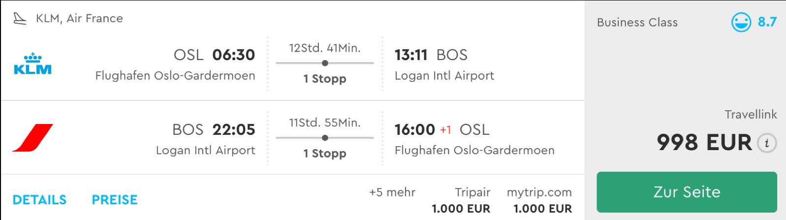 Business Class nach Boston fliegen