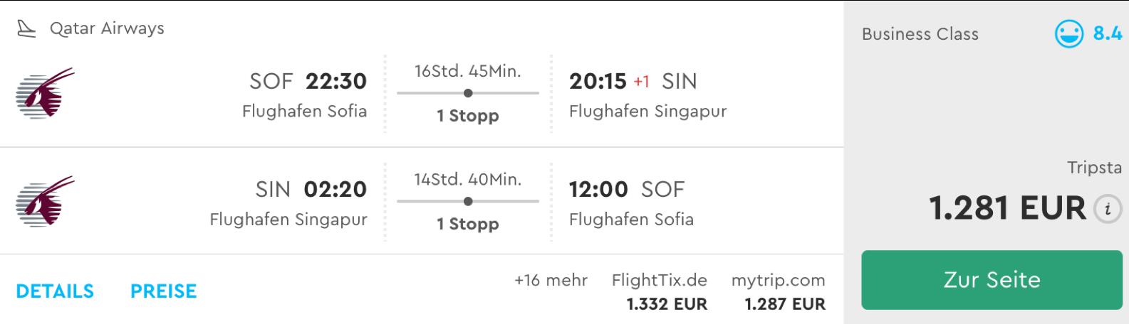Günstige Qatar Airways Business Class Flüge nach Singapur