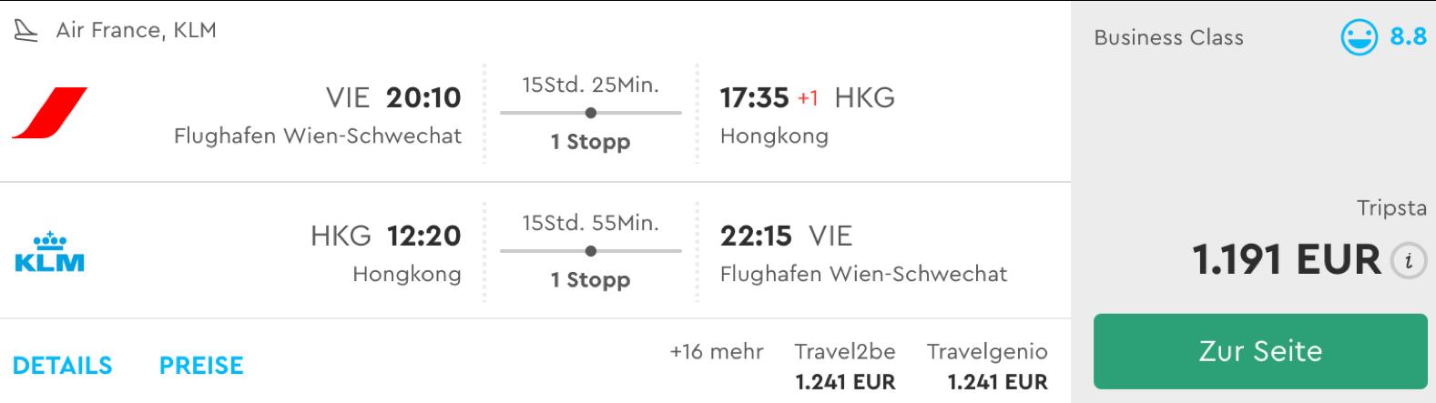 Business class nach Hongkong