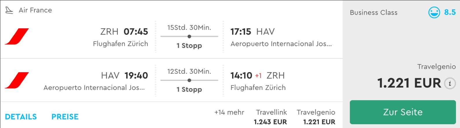Günstige Business Class Flüge nach Kuba