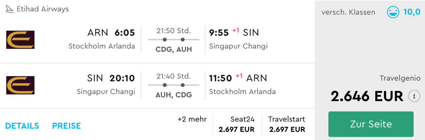 Etihad Airways First Class Apartment günstig nach Singapur fliegen