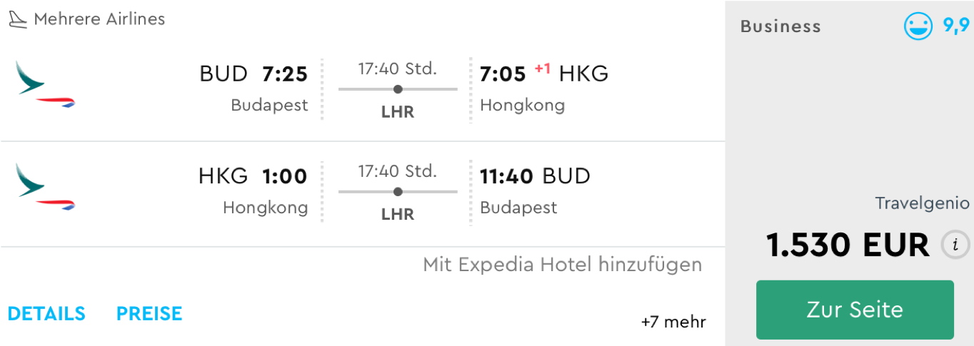 Günstige Cathay Pacific Business Class Flüge nach Hongkong
