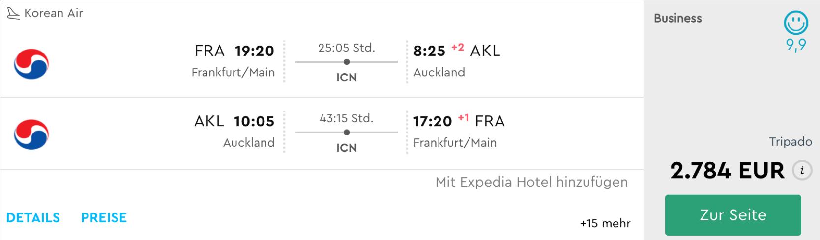 Korean Air business Class nach Australien und Neuseeland fliegen