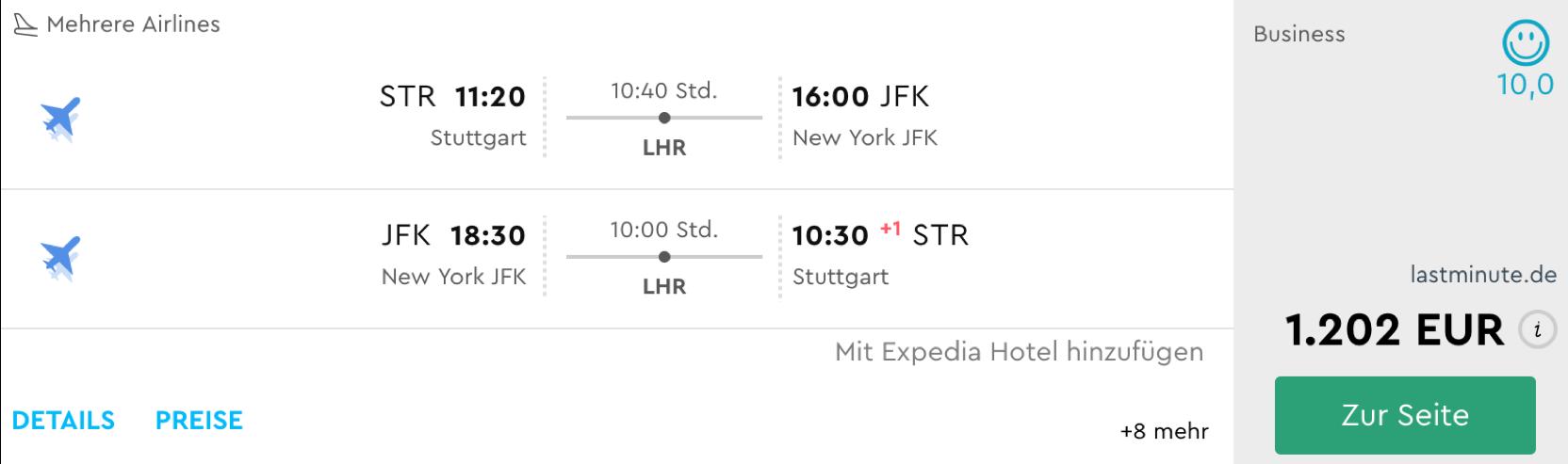 Sehr günstige Business Class Flüge nach New York