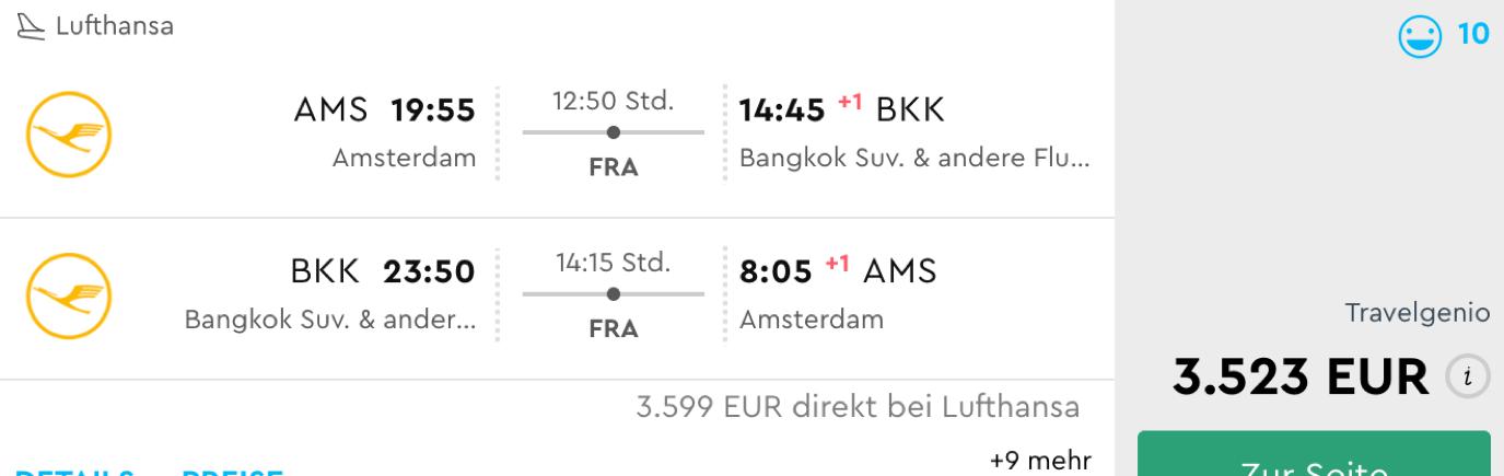 Lufthansa First class nach Bangkok