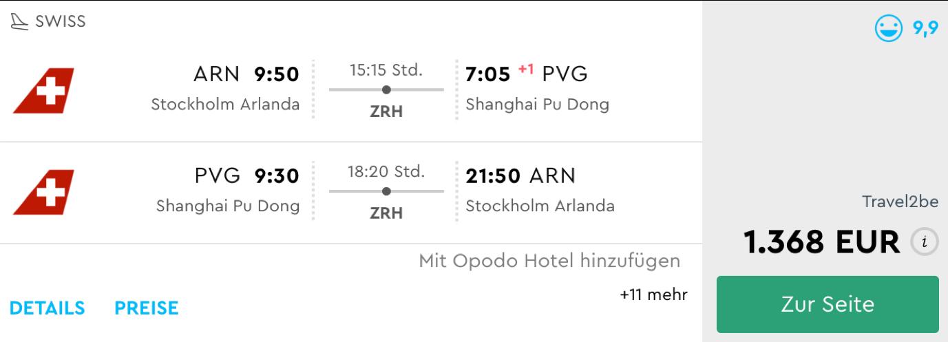 Günstige Business Class Flüge nach Shanghai