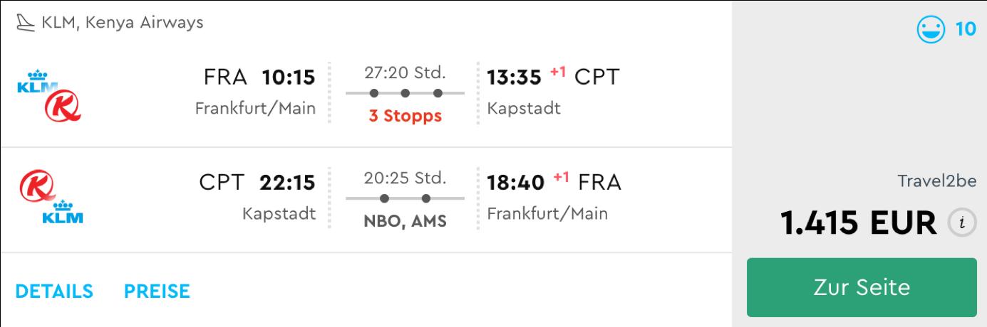 Business Class Flüge nach Kapstadt