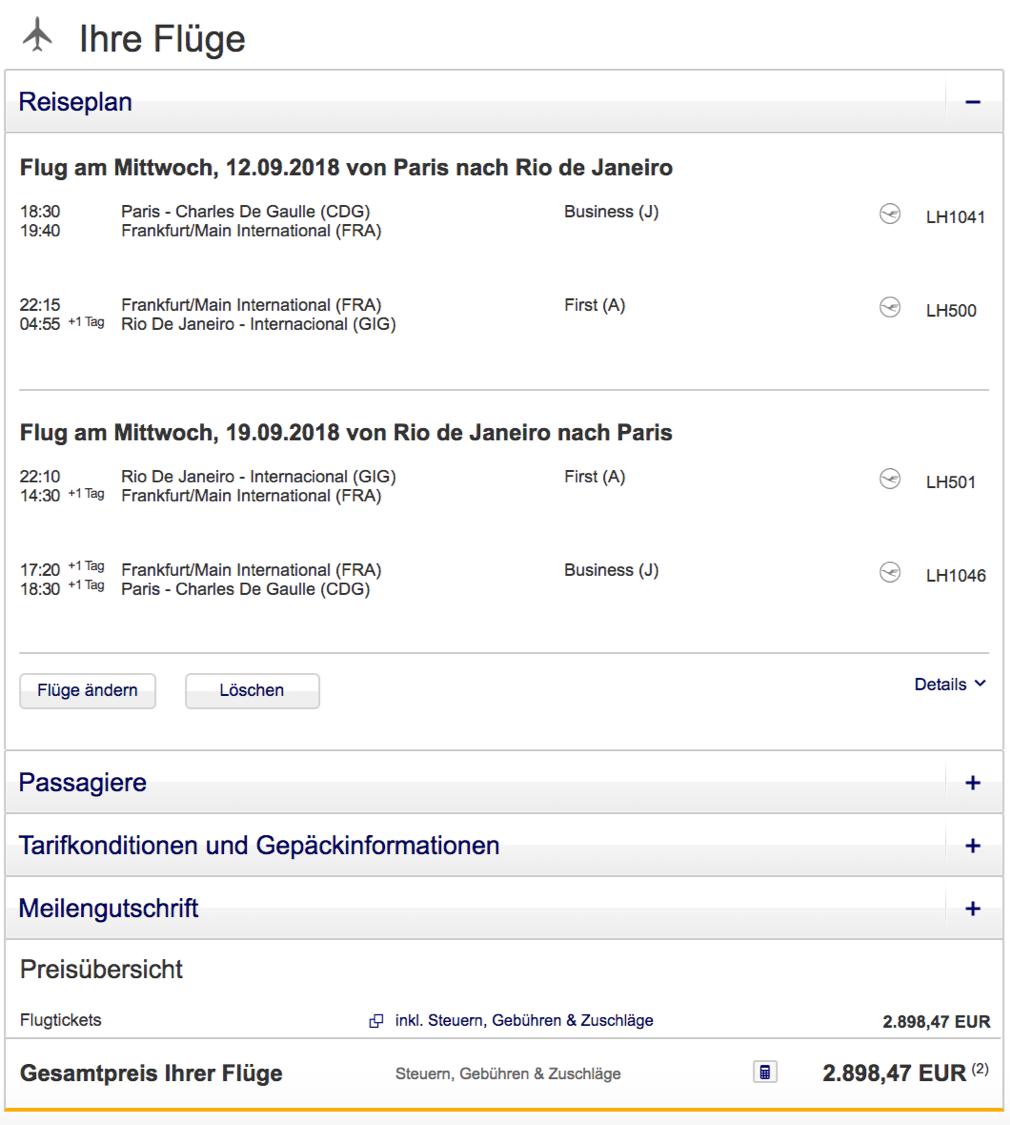Lufthansa first Class Angebote nach Südamerika