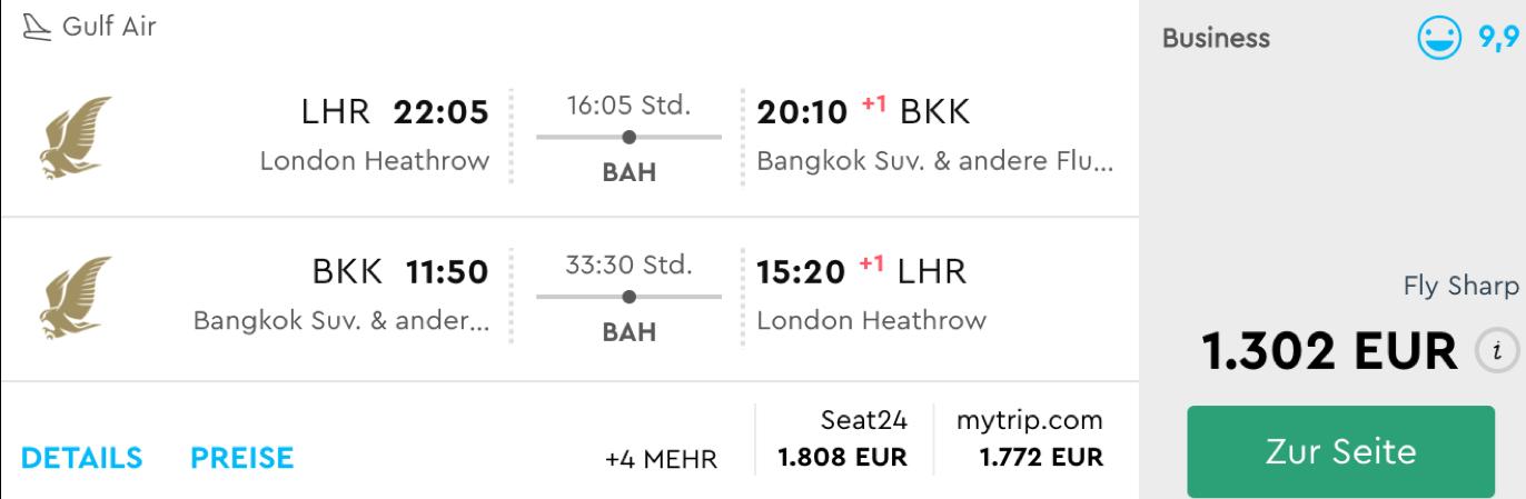 Günstig in der Gulf Air business Class nach Bangkok fliegen