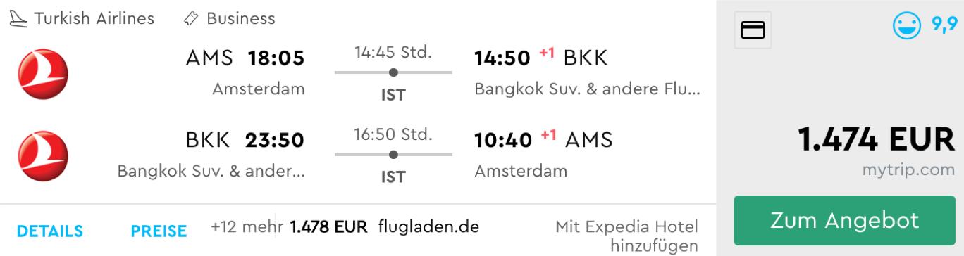 Günstig Business Class nach Bangkok fliegen