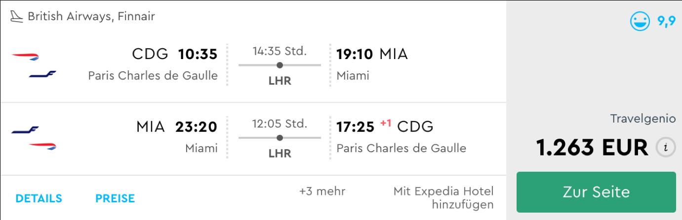 Günstige Business Class Flüge nach Miami