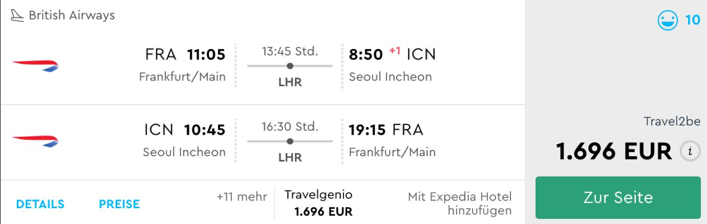 British Airways Business Class Flüge nach Seoul