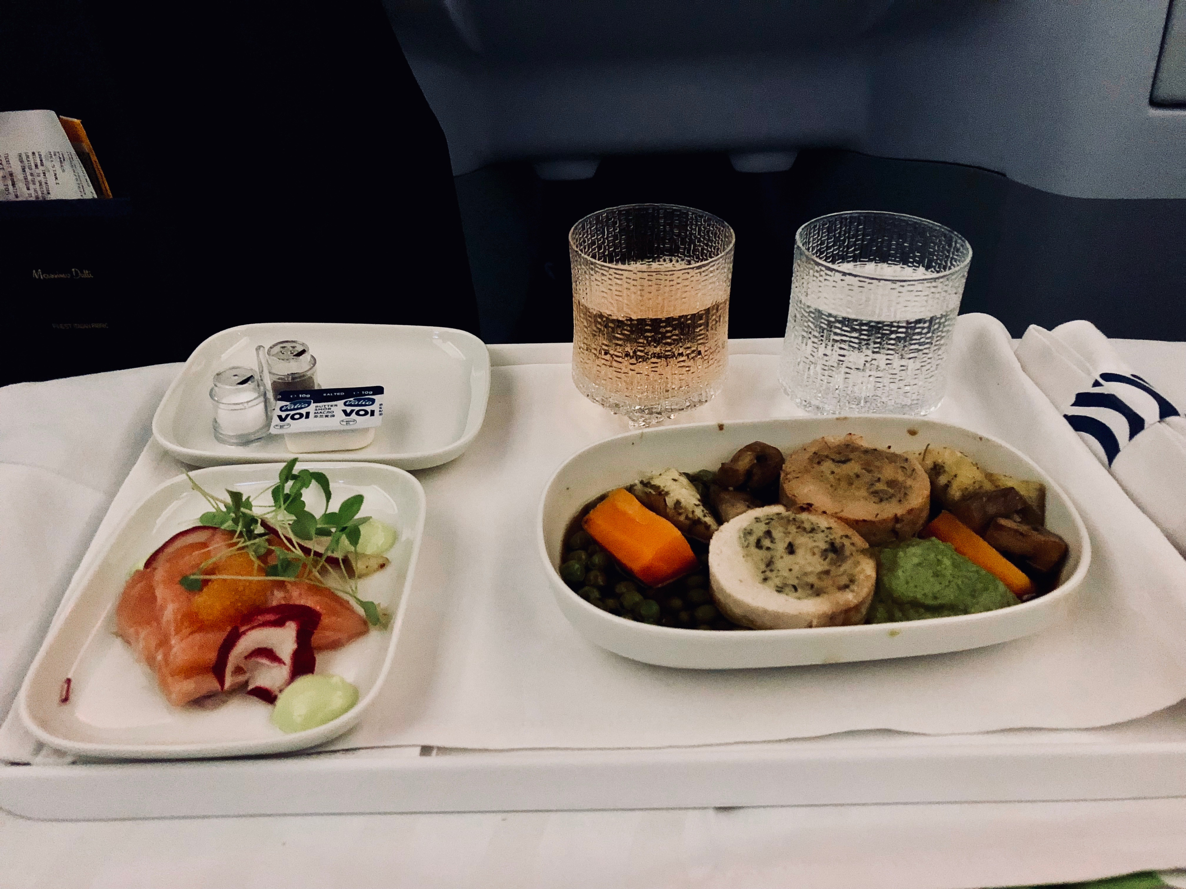 Finnair Business Class A330 Dinner